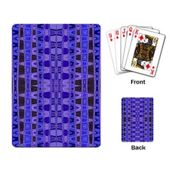 Blue Black Geometric Pattern Playing Card