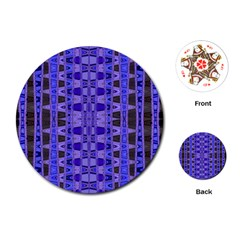 Blue Black Geometric Pattern Playing Cards (Round)