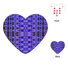Blue Black Geometric Pattern Playing Cards (Heart)