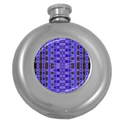 Blue Black Geometric Pattern Round Hip Flask (5 oz)