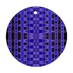 Blue Black Geometric Pattern Round Ornament (Two Sides)