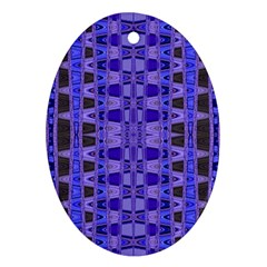 Blue Black Geometric Pattern Oval Ornament (Two Sides)