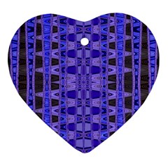 Blue Black Geometric Pattern Heart Ornament (2 Sides)