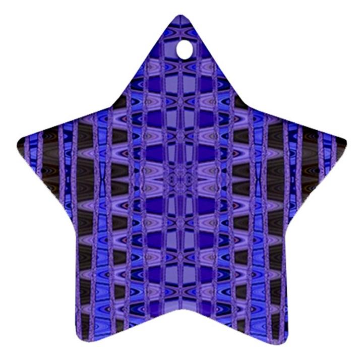 Blue Black Geometric Pattern Star Ornament (Two Sides)