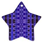 Blue Black Geometric Pattern Star Ornament (Two Sides)  Back