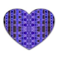 Blue Black Geometric Pattern Heart Mousepads