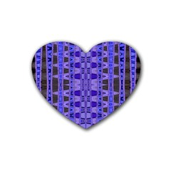 Blue Black Geometric Pattern Rubber Coaster (Heart)