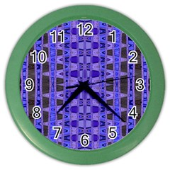 Blue Black Geometric Pattern Color Wall Clocks