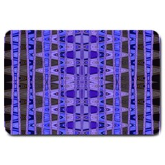 Blue Black Geometric Pattern Large Doormat