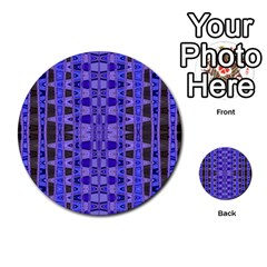 Blue Black Geometric Pattern Multi-purpose Cards (Round)