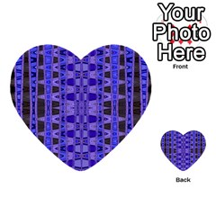 Blue Black Geometric Pattern Multi Purpose Cards (heart)  by BrightVibesDesign