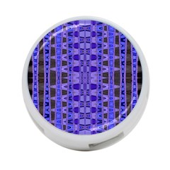 Blue Black Geometric Pattern 4-Port USB Hub (One Side)