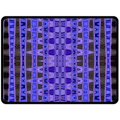 Blue Black Geometric Pattern Fleece Blanket (Large)