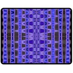 Blue Black Geometric Pattern Fleece Blanket (Medium)