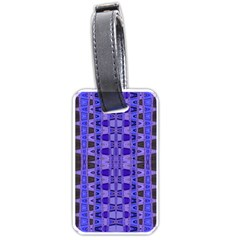 Blue Black Geometric Pattern Luggage Tags (One Side)