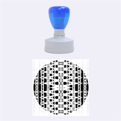 Blue Black Geometric Pattern Rubber Round Stamps (Medium)