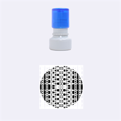 Blue Black Geometric Pattern Rubber Round Stamps (Small)