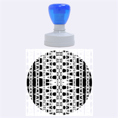 Blue Black Geometric Pattern Rubber Round Stamps (Large)