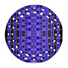 Blue Black Geometric Pattern Round Filigree Ornament (2Side)