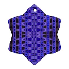 Blue Black Geometric Pattern Snowflake Ornament (2-Side)