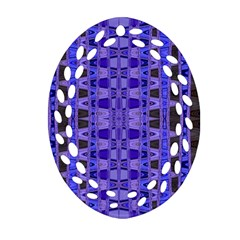 Blue Black Geometric Pattern Oval Filigree Ornament (2-Side)