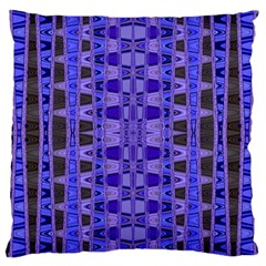 Blue Black Geometric Pattern Large Cushion Case (Two Sides)
