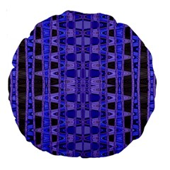 Blue Black Geometric Pattern Large 18  Premium Round Cushions