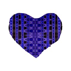 Blue Black Geometric Pattern Standard 16  Premium Heart Shape Cushions
