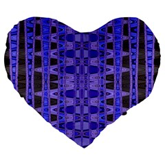 Blue Black Geometric Pattern Large 19  Premium Heart Shape Cushions