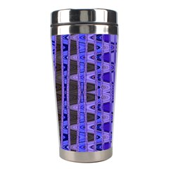 Blue Black Geometric Pattern Stainless Steel Travel Tumblers