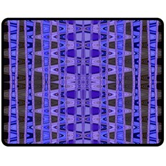 Blue Black Geometric Pattern Double Sided Fleece Blanket (medium)
