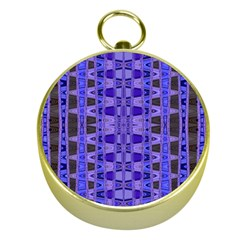 Blue Black Geometric Pattern Gold Compasses
