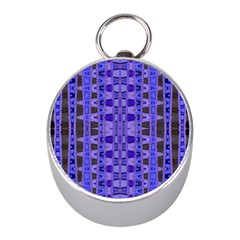 Blue Black Geometric Pattern Mini Silver Compasses