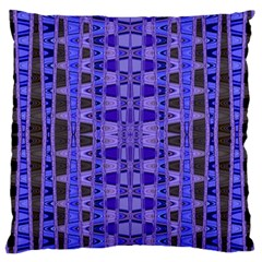 Blue Black Geometric Pattern Large Flano Cushion Case (One Side)