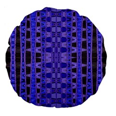 Blue Black Geometric Pattern Large 18  Premium Flano Round Cushions