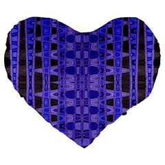 Blue Black Geometric Pattern Large 19  Premium Flano Heart Shape Cushions