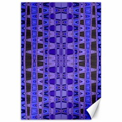 Blue Black Geometric Pattern Canvas 12  x 18