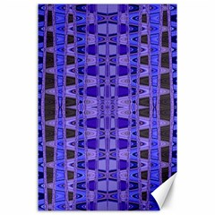 Blue Black Geometric Pattern Canvas 24  x 36