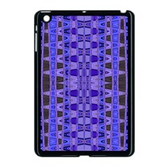 Blue Black Geometric Pattern Apple iPad Mini Case (Black)