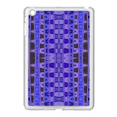 Blue Black Geometric Pattern Apple iPad Mini Case (White)