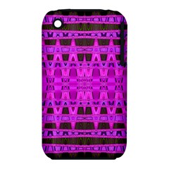 Bright Pink Black Geometric Pattern Apple Iphone 3g/3gs Hardshell Case (pc+silicone) by BrightVibesDesign