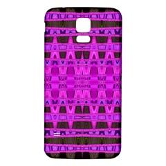 Bright Pink Black Geometric Pattern Samsung Galaxy S5 Back Case (white)