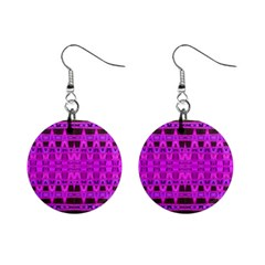 Bright Pink Black Geometric Pattern Mini Button Earrings