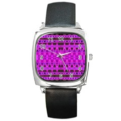 Bright Pink Black Geometric Pattern Square Metal Watch
