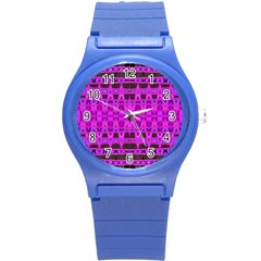 Bright Pink Black Geometric Pattern Round Plastic Sport Watch (s)