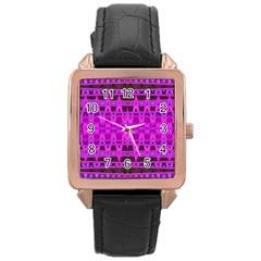 Bright Pink Black Geometric Pattern Rose Gold Leather Watch