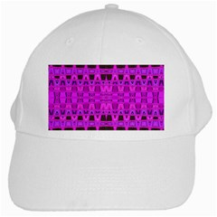Bright Pink Black Geometric Pattern White Cap by BrightVibesDesign