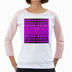 Bright Pink Black Geometric Pattern Girly Raglans by BrightVibesDesign