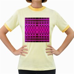 Bright Pink Black Geometric Pattern Women s Fitted Ringer T-Shirts by BrightVibesDesign