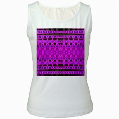 Bright Pink Black Geometric Pattern Women s White Tank Top by BrightVibesDesign